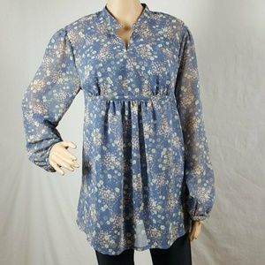 Womens Maternity Top Large Blue Long Sleeve Tunic